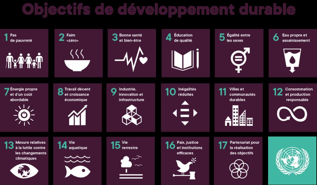 Tableau des objectifs de développement durable de l'ONU